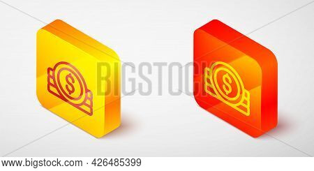 Isometric Line Ancient Coin Icon Isolated On Grey Background. Yellow And Orange Square Button. Vecto