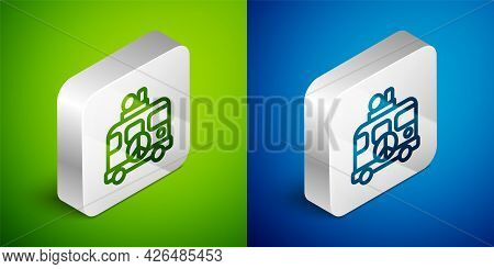 Isometric Line Hippie Camper Van Icon Isolated On Green And Blue Background. Travel By Vintage Bus.
