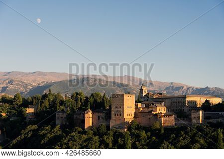 Panoramic View Of Alhambra Since San Nicolás Lookout In The Albaicín Neighborhood In The City Of Gra