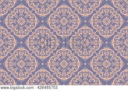 Wallpaper In The Style Of Baroque. Seamless Vector Background. Gold And Blue Floral Ornament. Graphi