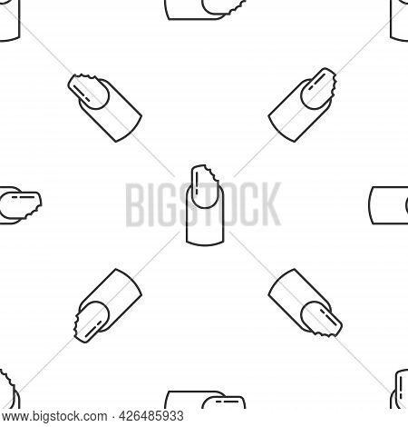 Grey Line Broken Nail Icon Isolated Seamless Pattern On White Background. Cracked Fingernail. Vector