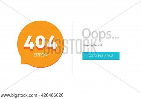 Error 404 Internet Web Page Not Found For Website With Oops Alert Vector Flat Cartoon Template Illus