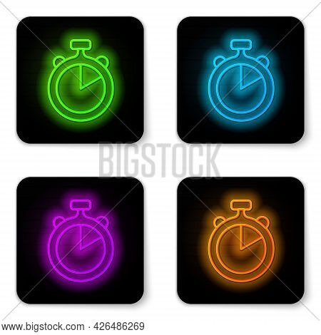 Glowing Neon Line Stopwatch Icon Isolated On White Background. Time Timer Sign. Chronometer Sign. Bl