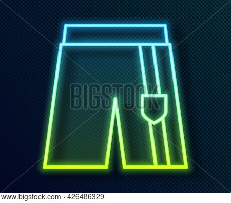 Glowing Neon Line Short Or Pants Icon Isolated On Black Background. Vector
