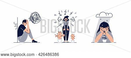 Mental Disorders, Illnesses, Psychiatry Set Vector Illustration. People Suffers From Mental Psycholo