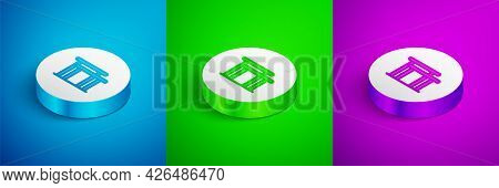 Isometric Line Gymnastics Equipment Uneven Bars Icon Isolated On Blue, Green And Purple Background.