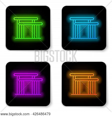 Glowing Neon Line Gymnastics Equipment Uneven Bars Icon Isolated On White Background. Black Square B