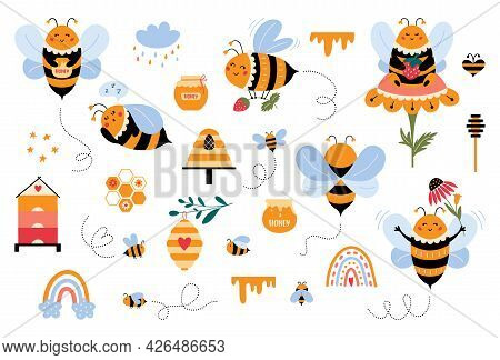 Bee Vector Set In Cartoon Style Cute Bumblebee