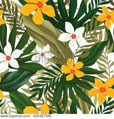 Abstract Tropical Floral Seamless Pattern With Palm, Leaves, Flower Hibiscus. Tile With Tropical Lea
