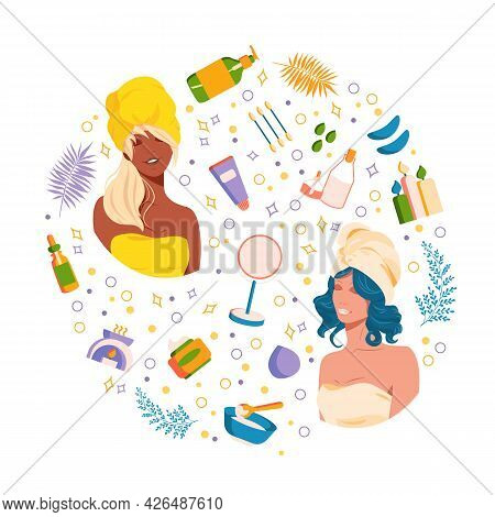 Skin Care Set With Beauty Girls And Cosmetic. Icon Natural Herbal Product For Take Care Of Skin. Col