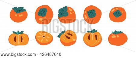 Collection Ripe And Juicy Fruit Persimmon Isolated. Set Of Half And Whole Of Persimmon In Flat Style