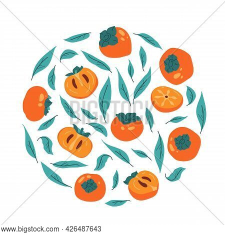Circular Set Of Persimmon With Leaves. Collection Of Fruit Persimmon Isolated For Print. Decoration