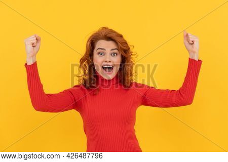 Redhead Lady Celebrating Success. Finally. Happy Woman Express Positivity.