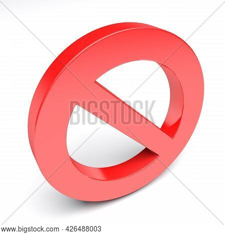 Access Denied Red Symbol Isolated On White Background - 3d Rendering Illustration