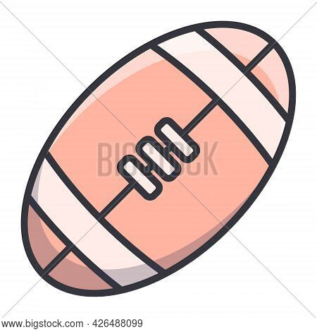 Simple Vector Icon For Rugby Or American Football Ball. Active Sports And Game Inventory Sticker.