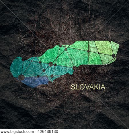 Map Of Slovakia. Concept Of Travel And Geography.