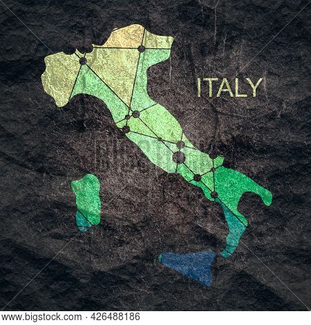 Map Of Italy. Concept Of Travel And Geography.