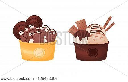 Tasty Ice Cream In Bowl As Sweetened Frozen Food Vector Set