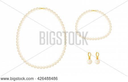 Pearl Necklace And Earrings As Jewellery Or Jewelry Item And Personal Adornment Vector Set