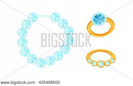 Golden Ring With Gem And Necklet As Jewellery Or Jewelry Item And Personal Adornment Vector Set