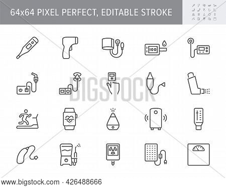 Personal Medical Devices Line Icons. Vector Illustration Include Icon - Thermometer, Glucometer, Ins