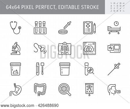 Medical Check Up Line Icons. Vector Illustration Include Icon - Radiology, Stethoscope, Xray, Ultras