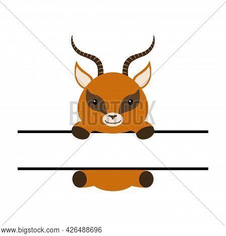 Cute Gazelle Split Monogram. Funny Cartoon Character For Shirt, Scrapbooking, Print, Greeting Cards,