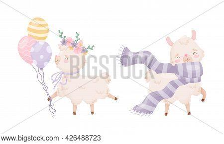 Cute Llama Or Alpaca Carrying Balloons And Wearing Scarf Vector Set