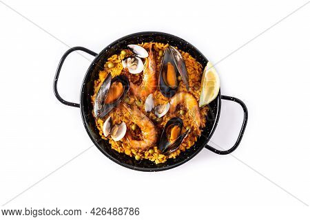 Traditional Spanish Seafood Paella Isolated On White Background. Top View