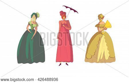 Woman In Standing Pose Wearing Old-fashioned Dress Or Ball Gown Vector Set