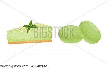 Green Matcha Dessert With Cheesecake And Macaroon Vector Set