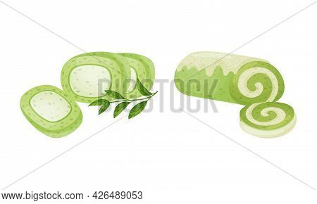 Green Matcha Dessert With Rolled Cake Or Roulade Vector Set