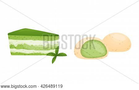 Green Matcha Dessert With Cheesecake And Mochi Rice Cake Vector Set