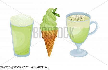Green Matcha Dessert With Ice Cream In Waffle Cone And Beverage In Glass Vector Set