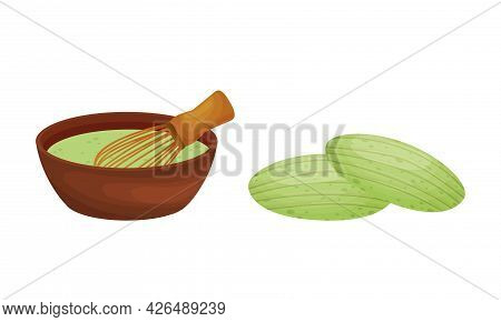 Green Matcha Dessert With Baked Cookie And Bowl With Whisk Vector Set