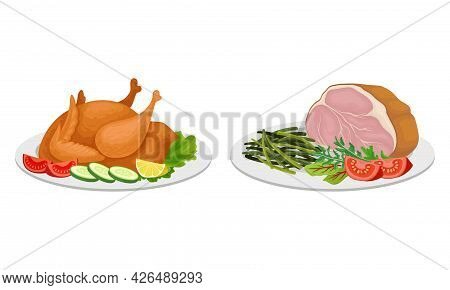 Meat Dish With Whole Roasted Chicken And Smoked Beef Slab Served On Plate Vector Set