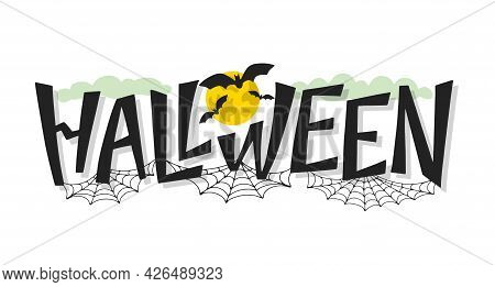 Halloween Hand Sketched Logo Isolated On White. Spooky Halloween Lettering Concept Decorated By Spid