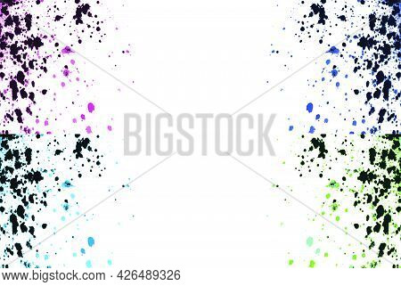 Colorful Explosion Watercolor Paint Splatter Isolated On White. Black, Pink, Blue, Green Neon Colors