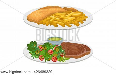 Meat Dish With Beef Steak And French Fries With Roasted Chicken Served On Plate Vector Set