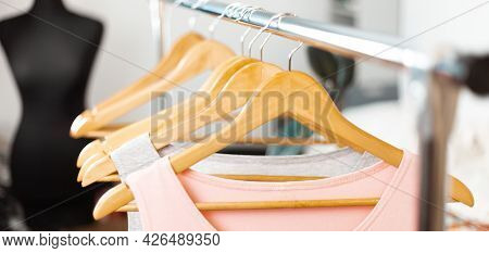 Comfortable Clothes. Casual Dresses On A Hanger. Sustainable Fashion.