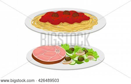 Pasta With Meat Balls And Beef Slab With Salad As Meat Dish Served On Plate Vector Set
