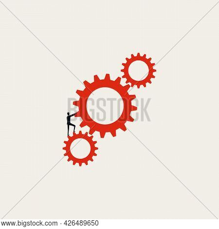 Business Process Automation Vector Concept. Symbol Of Cooperation, Workflow, Progress. Minimal Illus