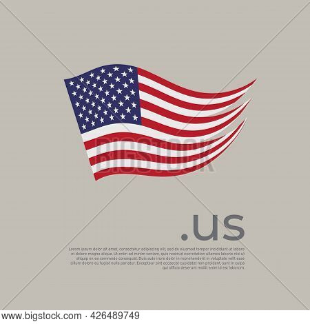 Usa Flag. Vector Stylized Us National Poster Design On Light Background. Wavy American Flag Painted