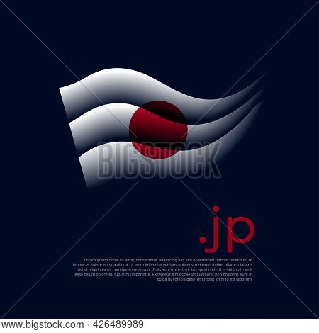 Japan Flag. Stripes Colors Of The Japanese Flag On A Dark Background. Vector Stylized Design Nationa