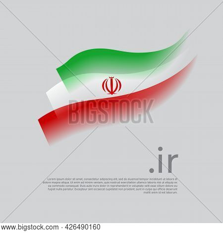 Iran Flag Watercolor. Stripes Colors Of The Iranian Flag On A White Background. Vector Stylized Desi