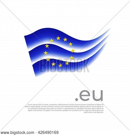 European Union Flag. Colored Stripes Of The Eu Flag On A White Background. Vector Stylized Poster, B
