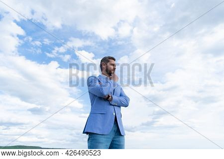 Man Bride Groom On Sky Background. Serious Businessman In Formalwear. Business Success.