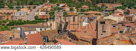 Roofs Of Old Houses With A Church Tower At Pratdip, Catalunya Spain. Panorama