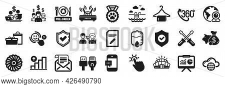 Set Of Business Icons, Such As Smartphone Message, Presentation, People Communication Icons. Swimmin