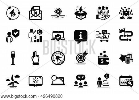 Vector Set Of Business Icons Related To Reject Letter, Windmill Turbine And Laptop Insurance Icons.